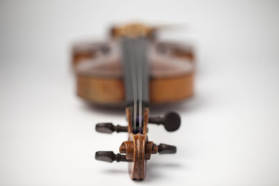 A violin lies on a flat white surface; the photo is taken from the scroll of the violin, everything beyond the scroll is out of focus.