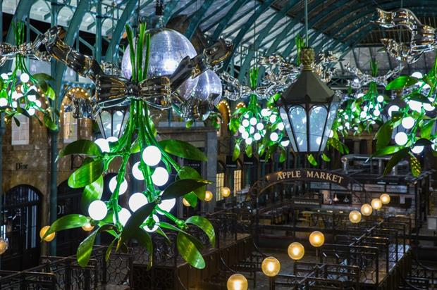 Covent Gardens' 'Meet Me Under the Mistletoe' Christmas decorations, designed by Michael Howells