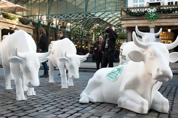 The cows visited London's Covent Garden yesterday