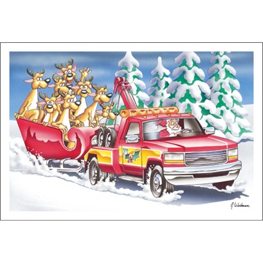 Santa Pulling Sleigh With Tow Truck Paul Oxman Publishing