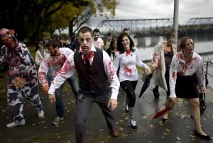 Harrisburg held its first Zombie Walk as more that 200 participants arrived on City Island dressed in ghoulish clothing.