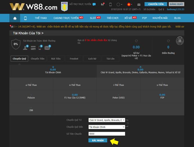 Rút tiền từ tài khoản nhà cái W88