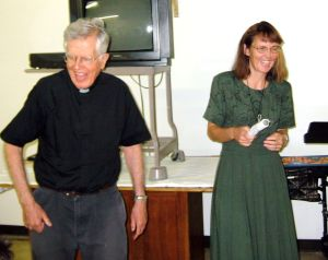 Fr Thomas and Mary Ann Halloran laughing at a good joke.