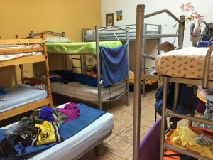dorm room of bunk beds