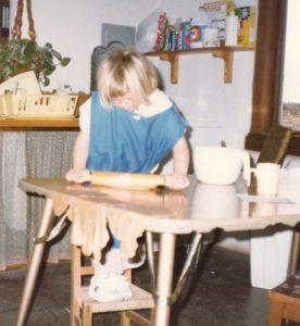 Rachel, age 6, making tortillas