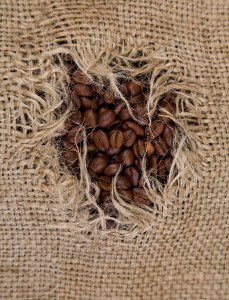 hole in coffee sack