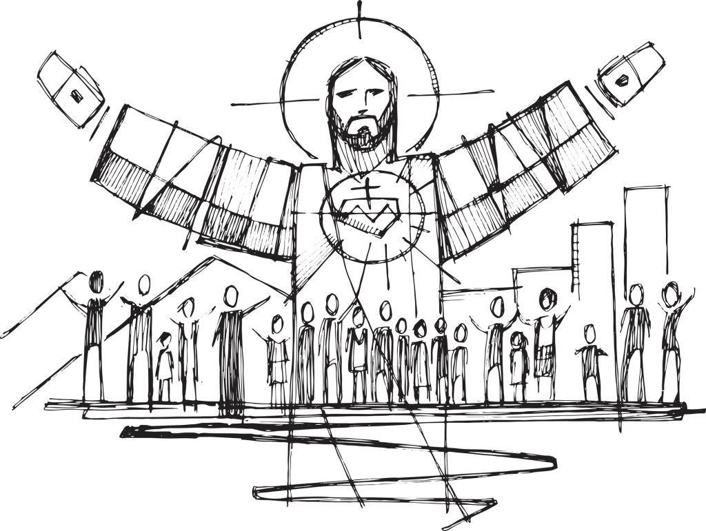 Jesus Christ with open arms and and people illustration