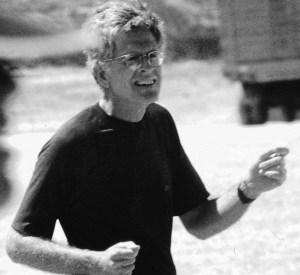 black and white photo of Fr Rick Thomas SJ