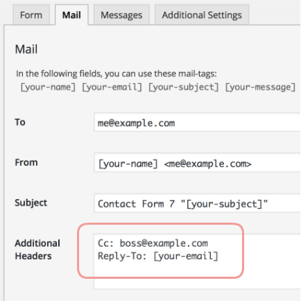 Adding Cc Bcc and Other Mail Headers – Contact Form
