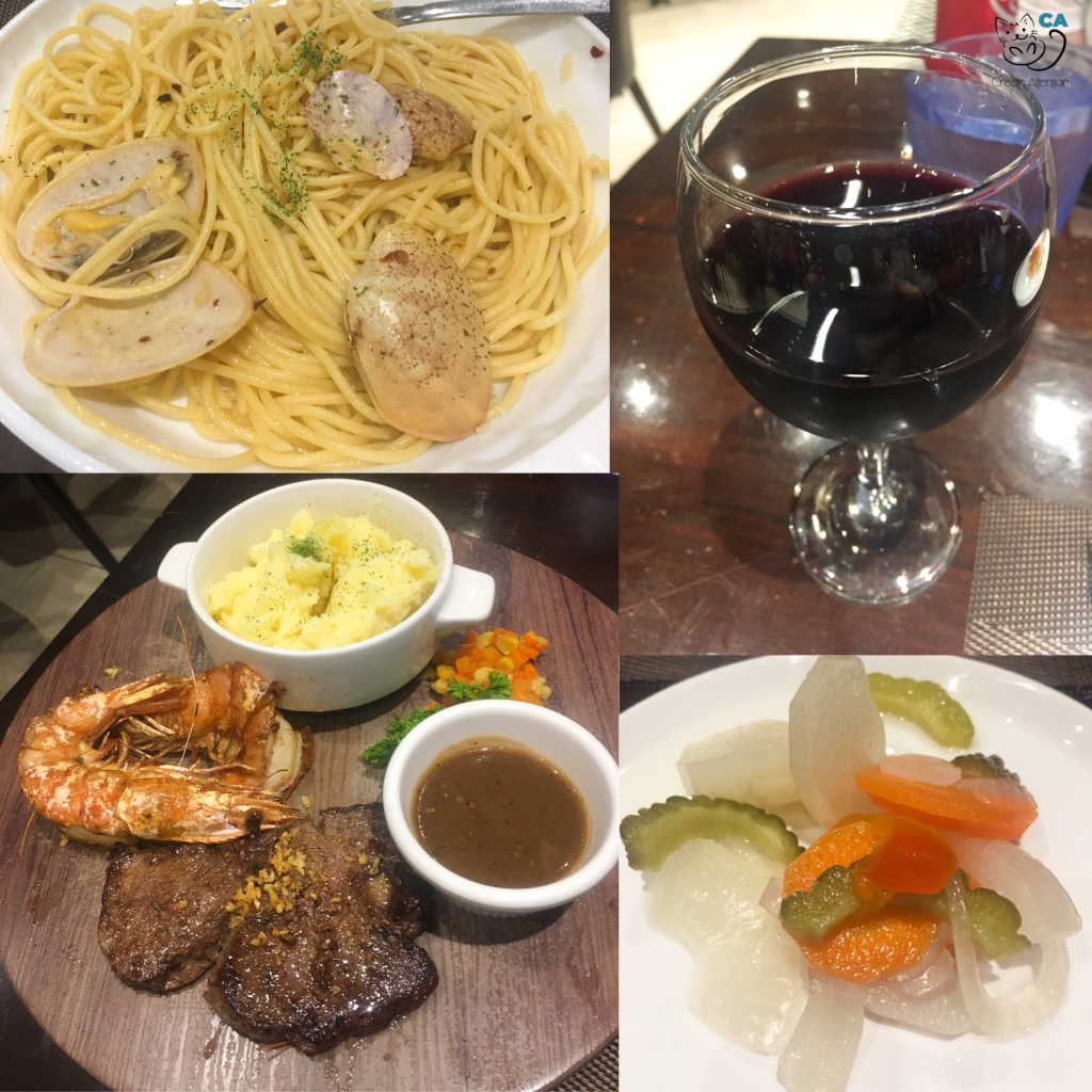 Spaghetti Alle Vongole, Surf and Turf with a glass of red wine, and Garlic Steak