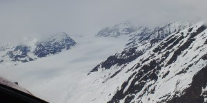 Flying up the Kahiltna Glacier toward Base Camp