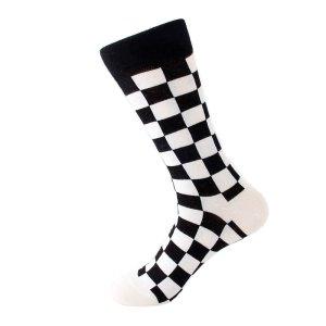 cb120ec7ed0549 Białe i czarne kwadraty szachownica – kolorowe skarpetki do garnituru –  wysokie