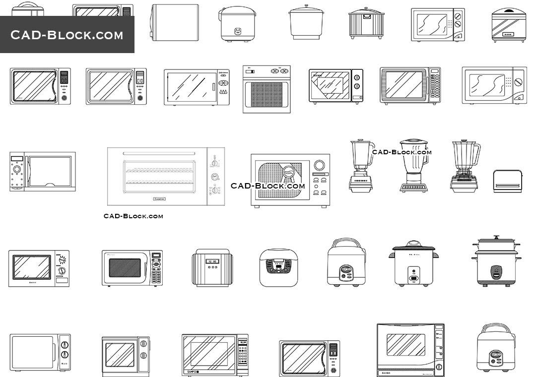 Kitchen Appliance CAD Blocks Free Download