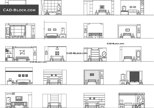 Bedroom Elevation Free Cad File Auxiliary Furniture