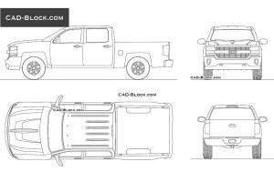 Pickup Chevrolet Silverado 2017 CAD drawings download, AutoCAD blocks