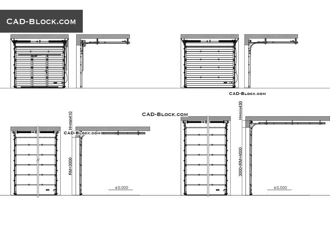 Overhead Door CAD Block Section Details Free 2D DWG Models
