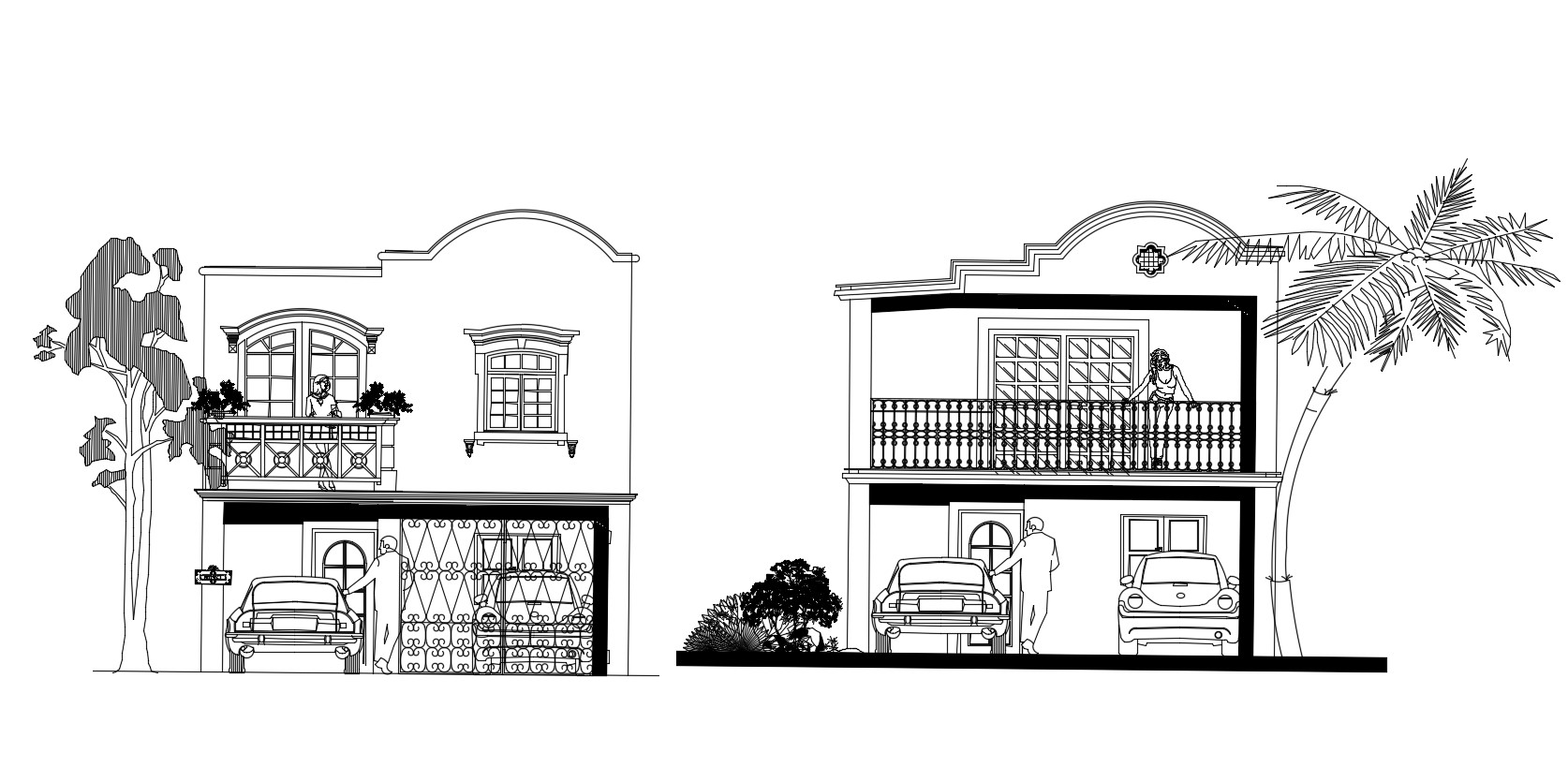 Autocad Drawing Of The House With Elevation