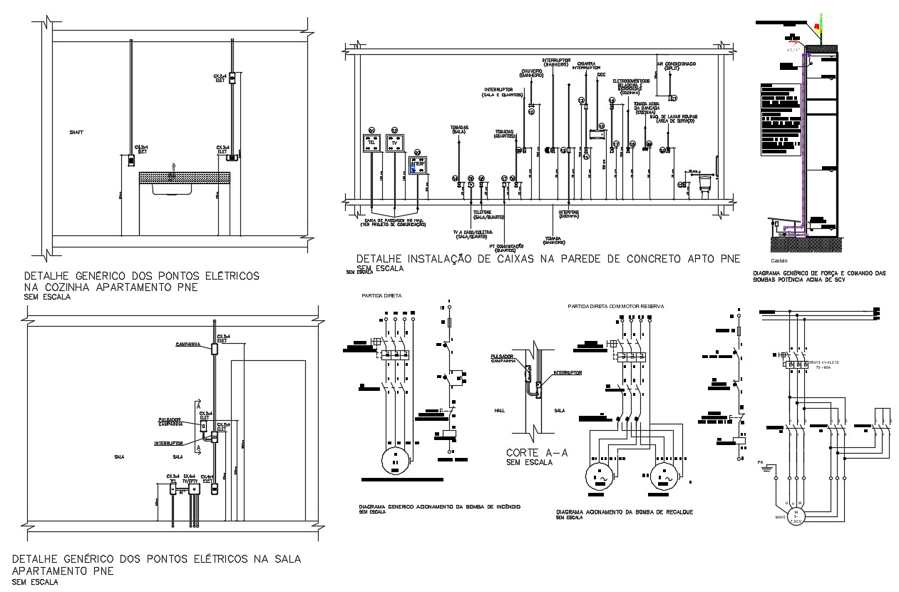 Electrical Wiring Circuits Design Layout 2d Autocad