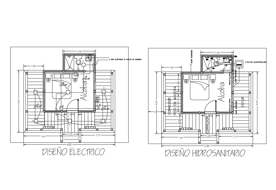 Electrical Layout And Sanitary Installation Details Of