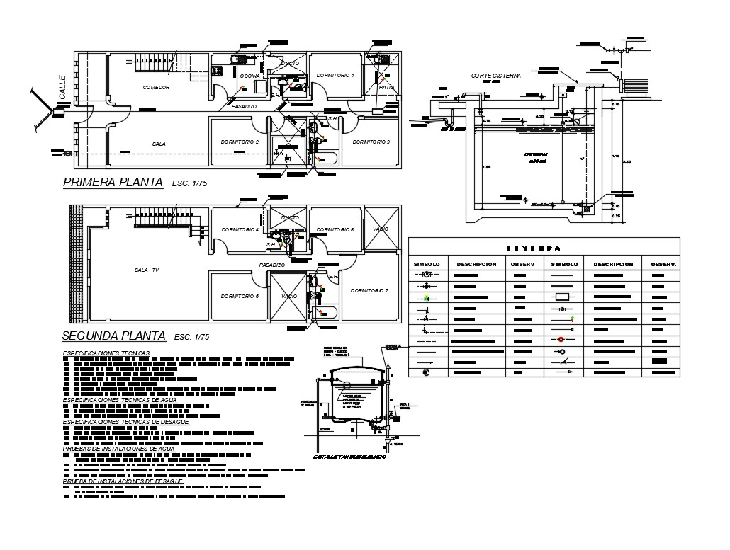 Two Story House Floor Plan With Water Tank And Plumbing