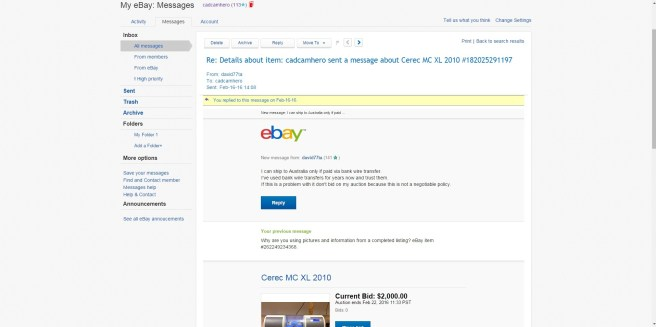 Fale Seller Message on eBay