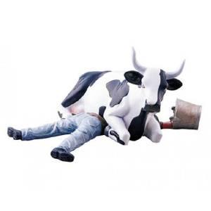 Cow Parade Ni Mu - Cow sitting on man (medium)
