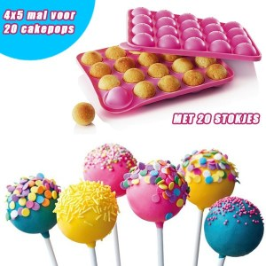 Siliconen CakePop bakvorm voor 20 heerlijke Cakepops inclusief 20 Cake Pop sticks