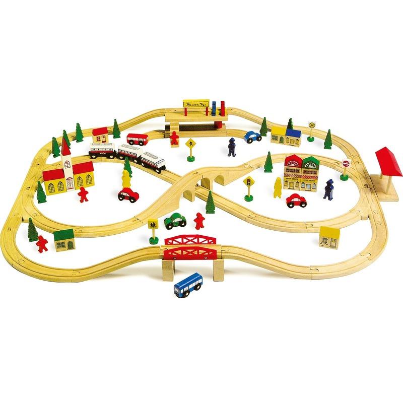 Houten speelgoed trein 101-delig