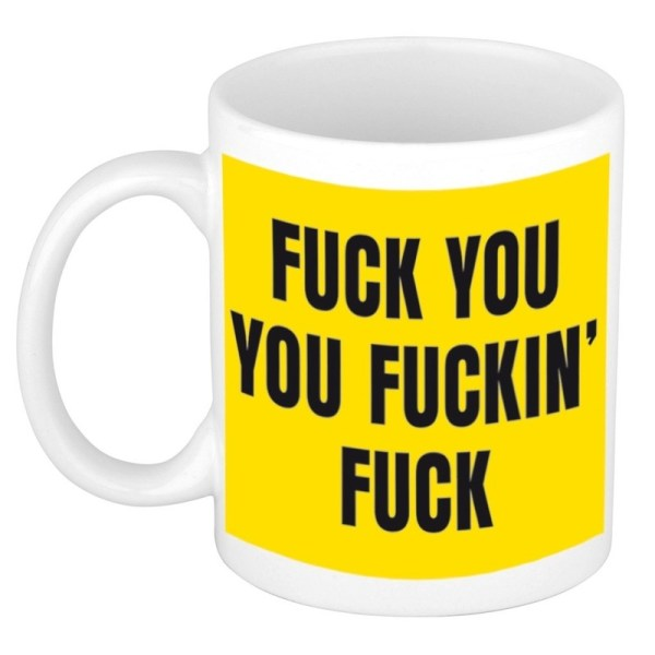 Grappige kado koffiemok / theebeker fuck you geel 300 ml