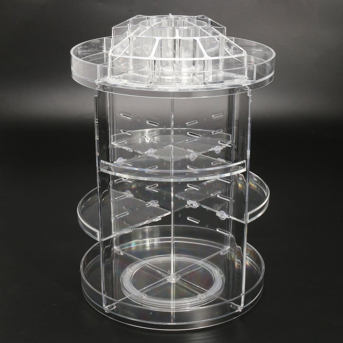 3 Tier Acrylic Cosmetic Makeup Jewelry 360° Rotating Storage Organizer Case
