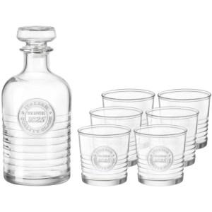 Glazen whisky/water karaf set 1 liter met 6 glazen 300 ml