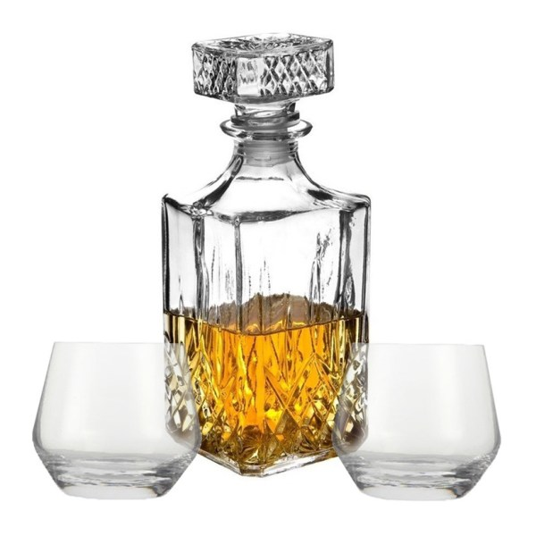 Cadeauset whisky/likeur karaf 900 ml inclusief 2x luxe whiskyglazen