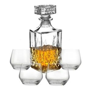 Cadeauset whisky/likeur karaf 900 ml inclusief 4x luxe whiskyglazen