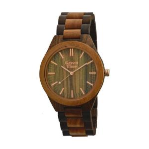 "GreenTime - Houten Unisex horloge ZW021L ""Basic"" Bi-Color, Quartz (Sandel & Walnoot Hout, Rosé Goud)"