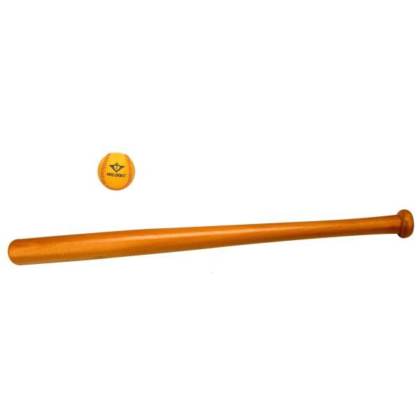 Houten speelgoed honkbalknuppel 63 cm + honkbal/softbal oranje / geel 10 cm