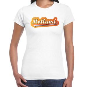 Wit t-shirt Holland / Nederland supporter Holland met Nederlandse wimpel EK/ WK voor dames