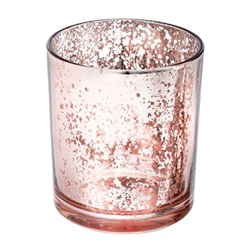 bougeoir rose en verre