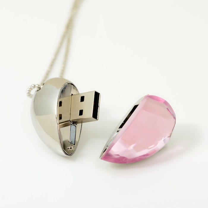 cle usb rose coeur ouverte