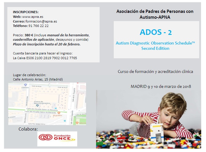 La asociación APNA  lanza un curso de ADOS-2, dirigido por la Dra. Mara Parellada
