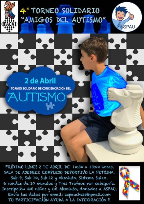 """4º Torneo de Ajedrez """"Amigos del Autismo"""" Valencia, 2 de Abril."""