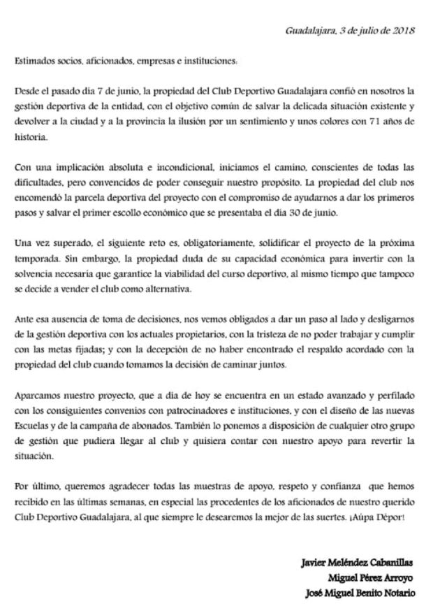 Carta enviada por Meléndez y el resto del cuerpo técnico.