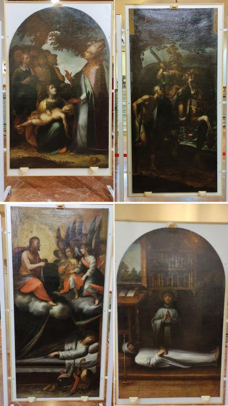 En imagen, los cuatro lienzos restaurados
