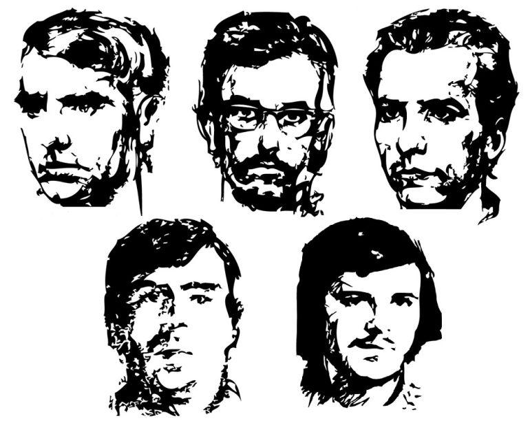 De izquierda a derecha y de arriba a abajo: José Luis Sánchez Bravo, Xosé Humberto Baena, Ramón García Sanz, Ángel Otaegi y Juan Paredes