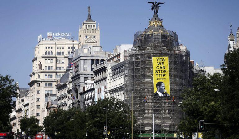 Un cartel contra el TTIP en Madrid, coin motivo de la visita de Obama.