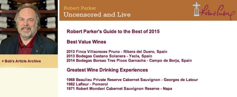 España, Francia y EE UU se reparten los vinos favoritos de Robert Parker en 2015.