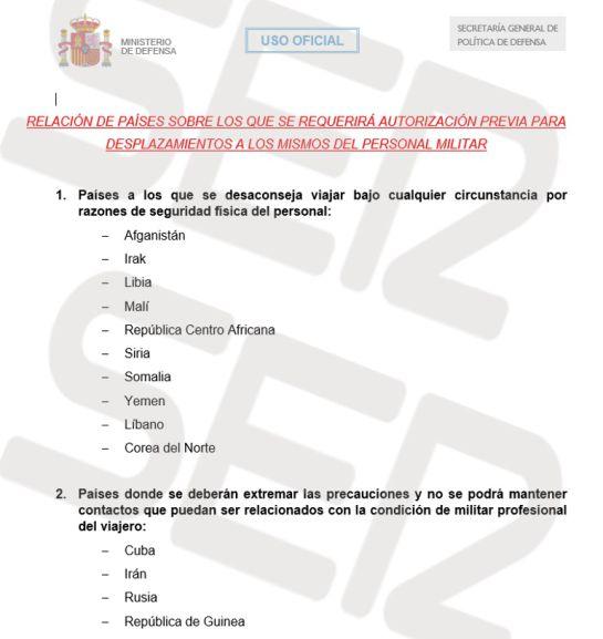 Países para los que se requerirá autorización previa