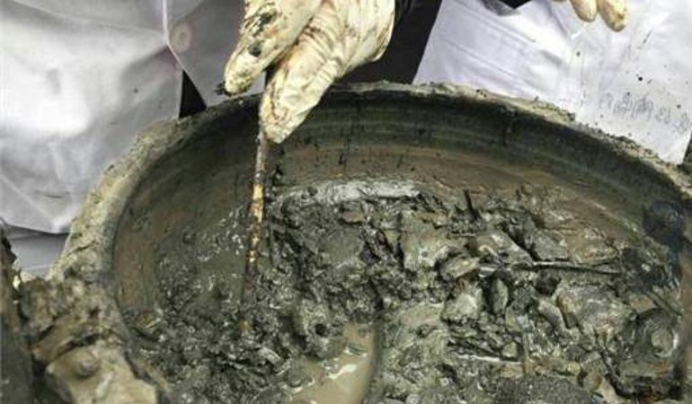 El grupo de investigadores muestran el guiso encontrado en el yacimiento chino.