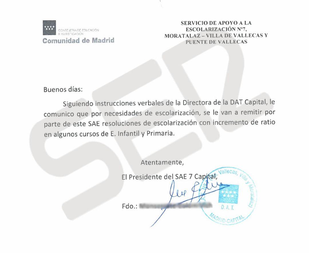El documento con el que la Comunidad de Madrid da órdenes de aumentar el número de alumnos por aula por encima de lo que marca la ley.