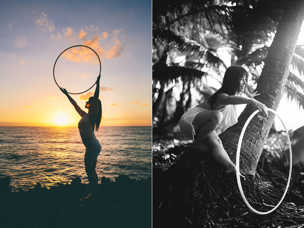 the hula hoop girl hooping on the big island during a session with cadencia photography