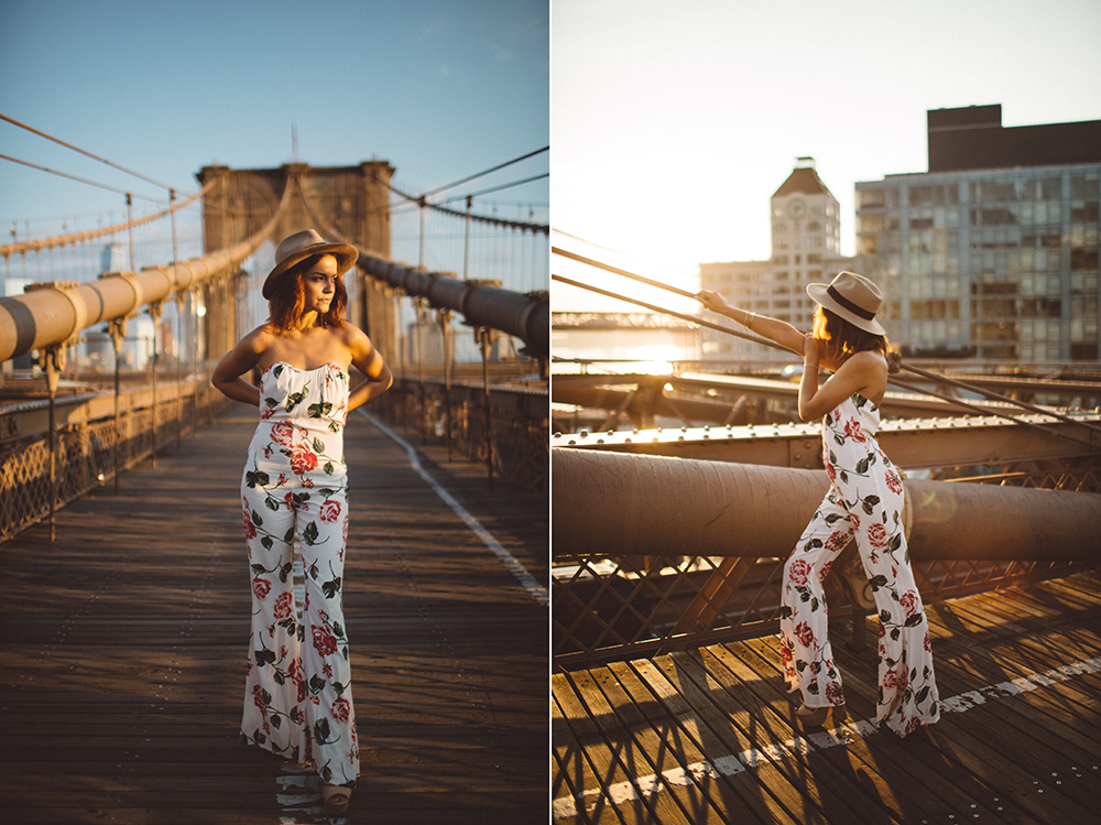 sunrise on the brooklyn bridge with Ana of Bohemian Compass wearing stone cold fox onesie.